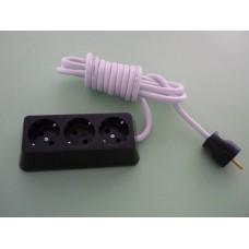 разклонител 3-ка трапец с 2м кабел